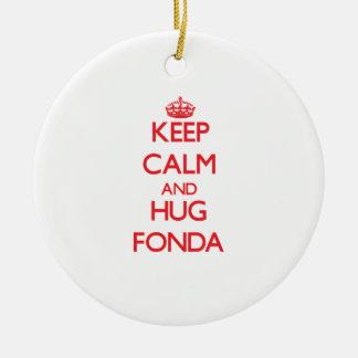 Keep calm and Hug Fonda Double-Sided Ceramic Round Christmas Ornament
