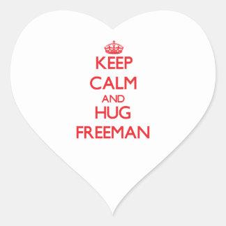 Keep calm and Hug Freeman Heart Sticker