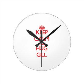 Keep calm and Hug Gill Round Clock