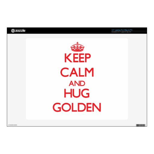 "Keep calm and Hug Golden 14"" Laptop Decal"