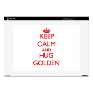 Keep calm and Hug Golden Decal For Laptop