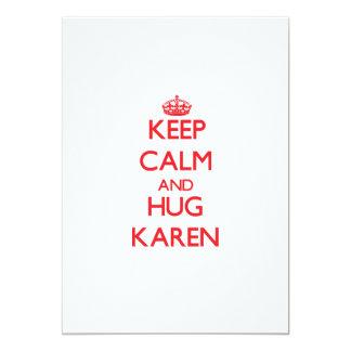 Keep Calm and Hug Karen Personalized Invitation