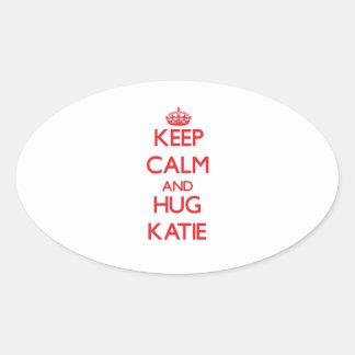 Keep Calm and Hug Katie Oval Stickers