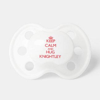 Keep calm and Hug Knightley Pacifiers