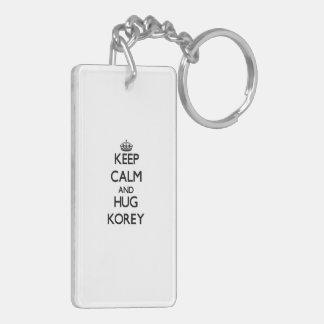 Keep Calm and Hug Korey Rectangular Acrylic Key Chains