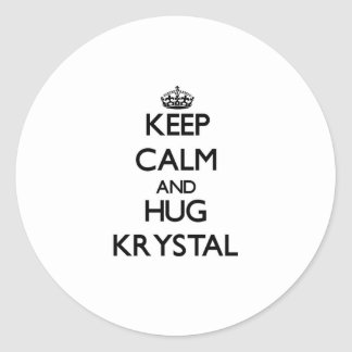 Keep Calm and HUG Krystal Classic Round Sticker