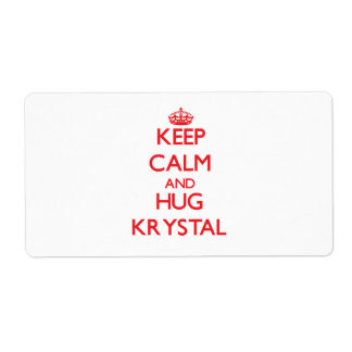 Keep Calm and Hug Krystal Personalized Shipping Label