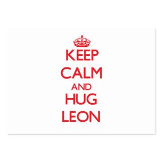 Keep calm and Hug Leon Business Card Template