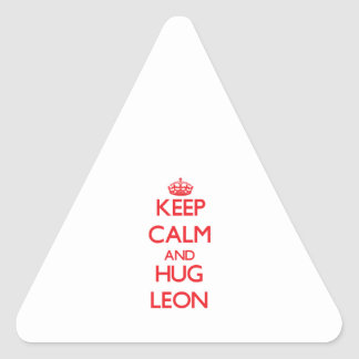 Keep calm and Hug Leon Triangle Sticker