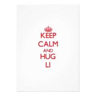 Keep calm and Hug Li Personalized Invitations