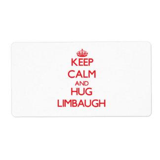 Keep calm and Hug Limbaugh Shipping Label