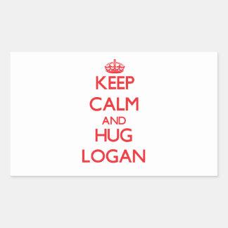 Keep calm and Hug Logan Rectangular Sticker