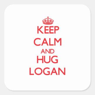 Keep calm and Hug Logan Square Sticker