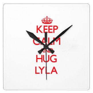 Keep Calm and Hug Lyla Square Wall Clock