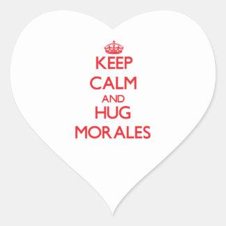 Keep calm and Hug Morales Heart Sticker