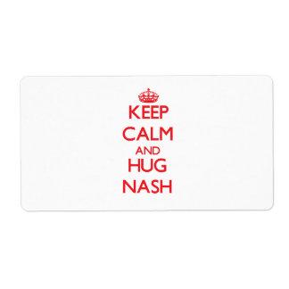 Keep Calm and HUG Nash Shipping Label