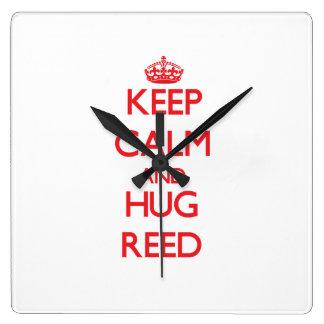 Keep calm and Hug Reed Square Wall Clocks