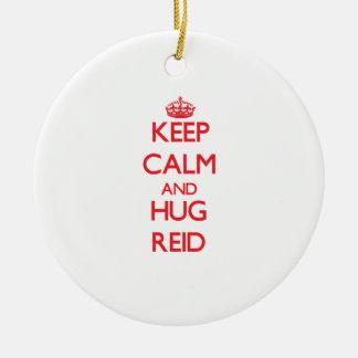 Keep Calm and HUG Reid Double-Sided Ceramic Round Christmas Ornament
