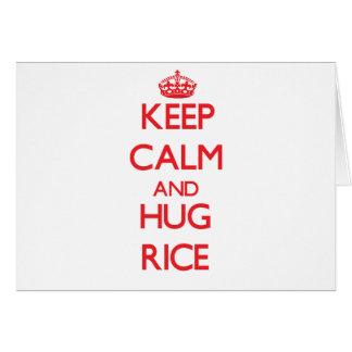 Keep calm and Hug Rice Greeting Card