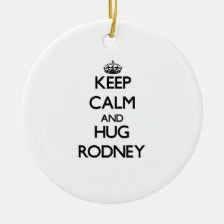 Keep Calm and Hug Rodney Double-Sided Ceramic Round Christmas Ornament