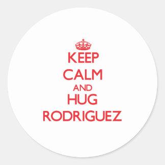 Keep calm and Hug Rodriguez Classic Round Sticker