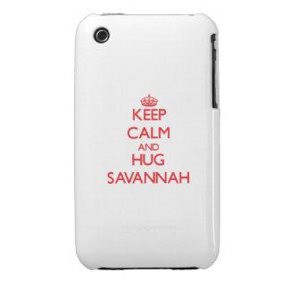 Keep Calm and Hug Savannah iPhone 3 Cases