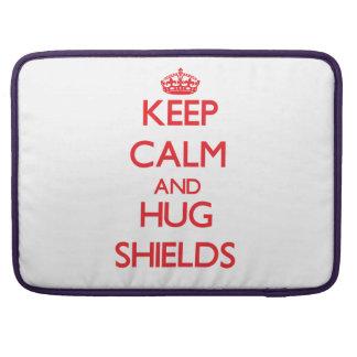 Keep calm and Hug Shields MacBook Pro Sleeves