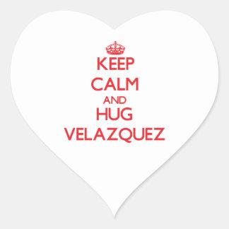 Keep calm and Hug Velazquez Heart Stickers