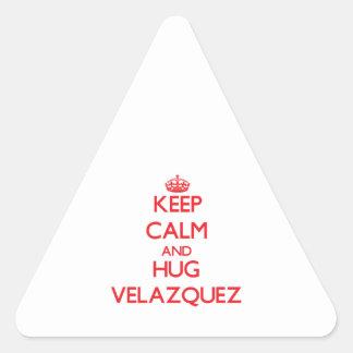 Keep calm and Hug Velazquez Triangle Stickers