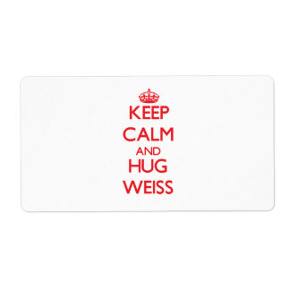 Keep calm and Hug Weiss Shipping Label