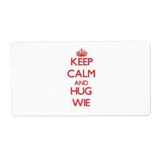 Keep calm and Hug Wie Shipping Label