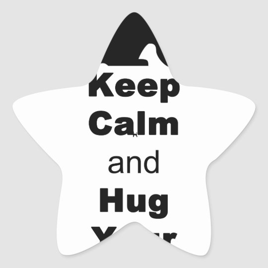 Keep Calm and Hug Your Cat Star Sticker