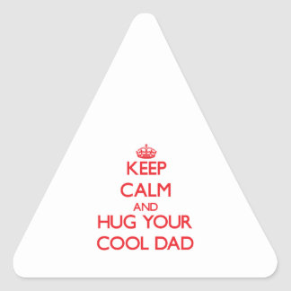 Keep Calm and HUG  your Cool Dad Triangle Sticker