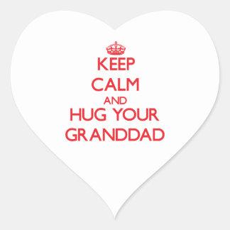 Keep Calm and HUG  your Granddad Heart Sticker