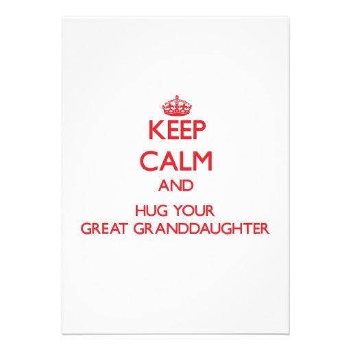 Keep Calm and HUG  your Great Granddaughter Custom Invitation