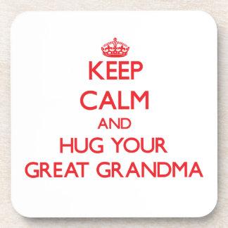 Keep Calm and HUG  your Great Grandma Drink Coaster