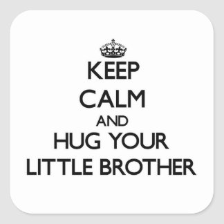 Keep Calm and Hug your little Brother Square Sticker