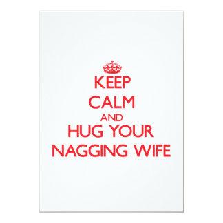 Keep Calm and HUG  your Nagging Wife Custom Invitations