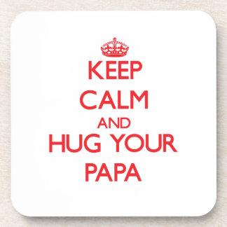 Keep Calm and HUG  your Papa Beverage Coasters