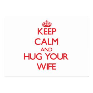 Keep Calm and HUG  your Wife Business Card Templates