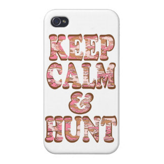 Keep Calm and Hunt Pink and Brown Camo Letters iPhone 4/4S Cases