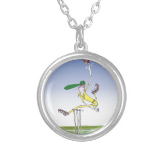 keep calm and hurl the ball, tony fernandes silver plated necklace