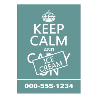 Keep Calm and Ice Cream (icecream) (any color) Large Business Card