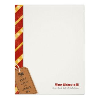 "Keep Calm and Jingle On Festive Flat Note Card 4.25"" X 5.5"" Invitation Card"
