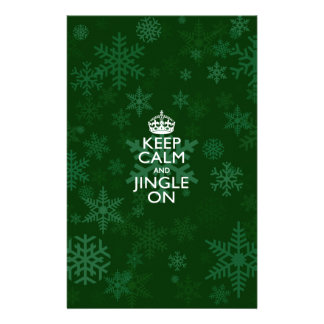 Keep Calm And Jingle On Green Snowflakes Flyer