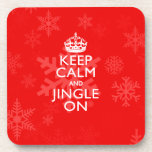 Keep Calm And Jingle On Red Accent Beverage Coasters