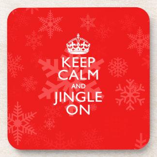 Keep Calm And Jingle On Red Coaster