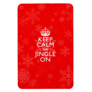 Keep Calm And Jingle On Vibrant Red Rectangular Photo Magnet