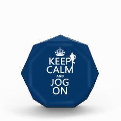 Small Acrylic Octagon Award with Keep Calm and Jog On design