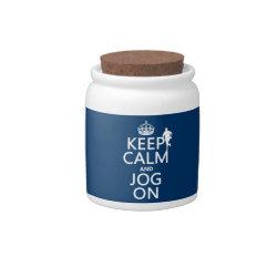 Candy Jar with Keep Calm and Jog On design